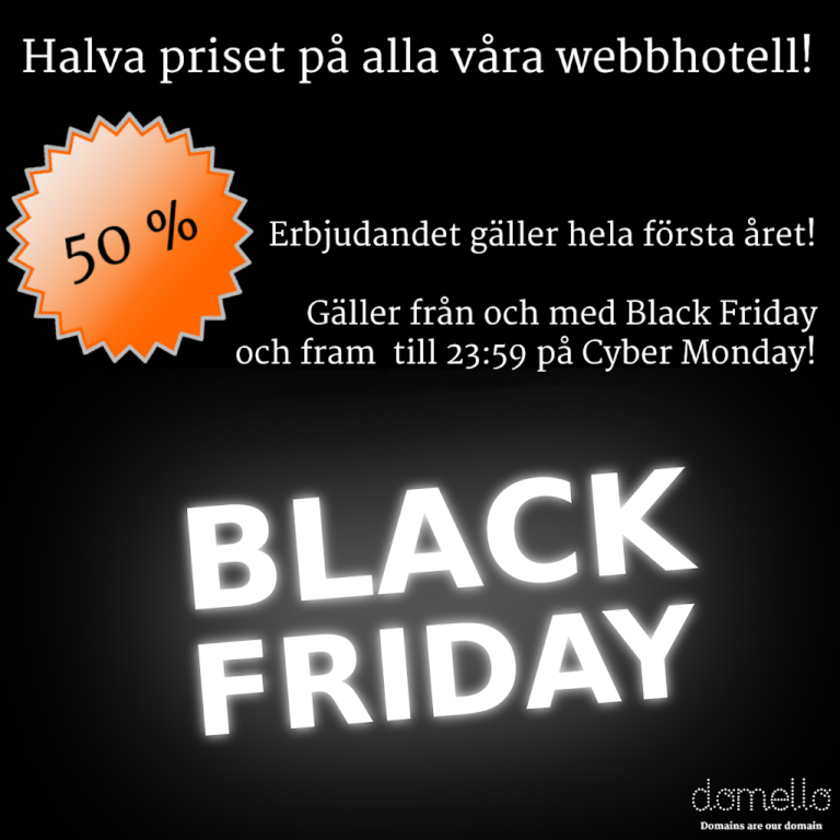 Black Friday och Cyber Monday rea på webbhotell!